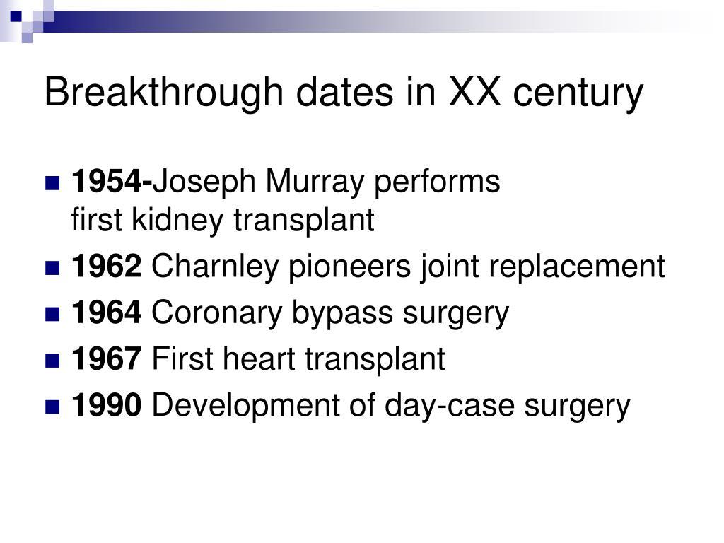 Breakthrough dates in XX century
