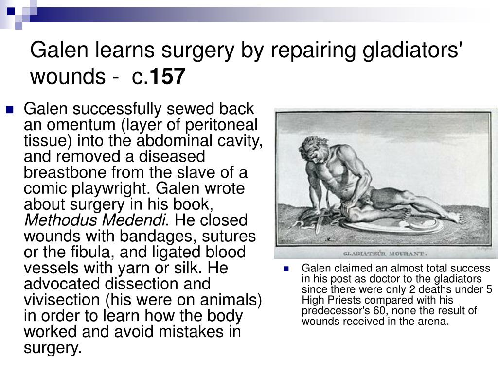 Galen learns surgery by repairing gladiators' wounds -  c.
