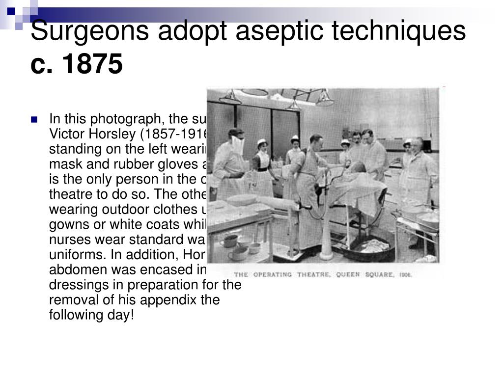 Surgeons adopt aseptic techniques