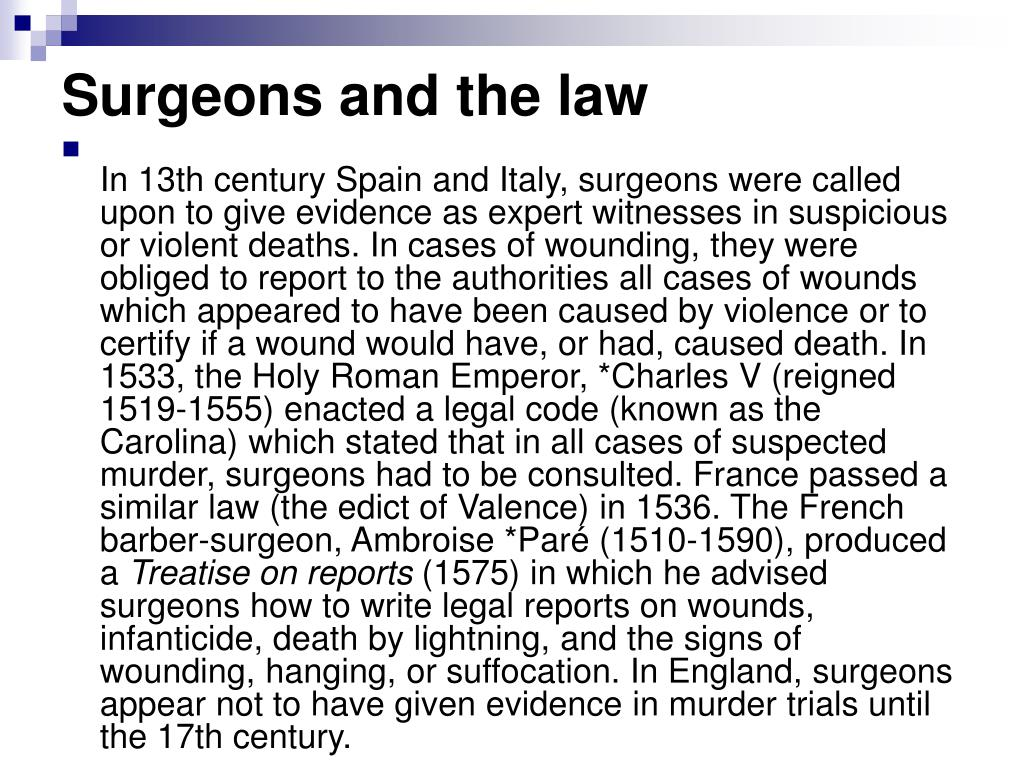 Surgeons and the law