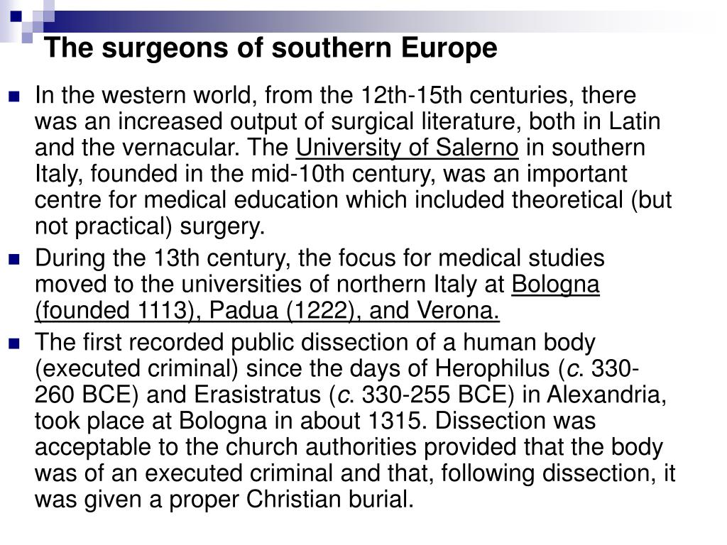 The surgeons of southern Europe