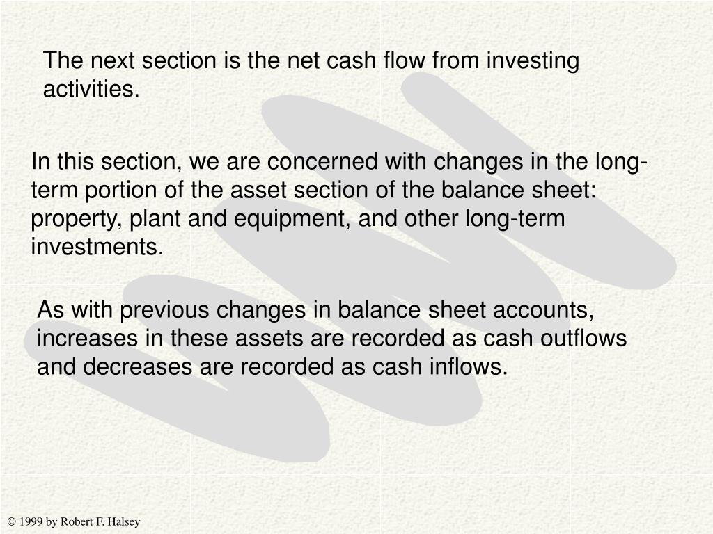 The next section is the net cash flow from investing activities.