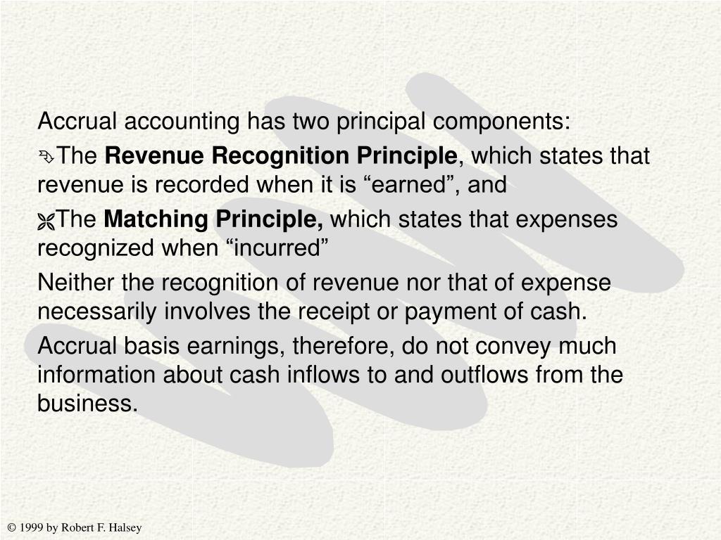 Accrual accounting has two principal components: