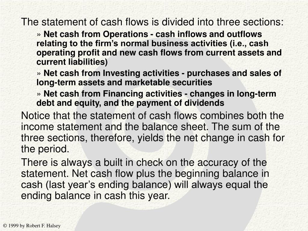The statement of cash flows is divided into three sections: