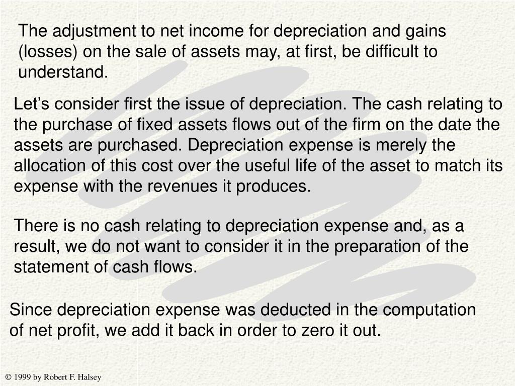 The adjustment to net income for depreciation and gains (losses) on the sale of assets may, at first, be difficult to understand.