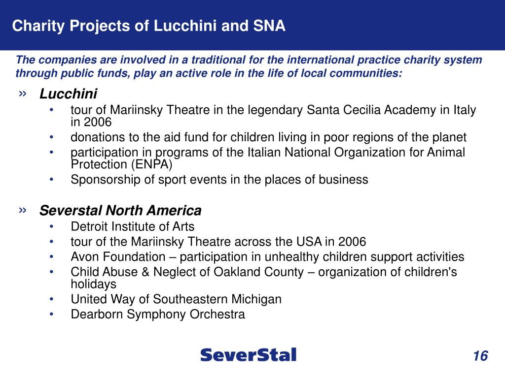 Charity Projects of Lucchini and SNA