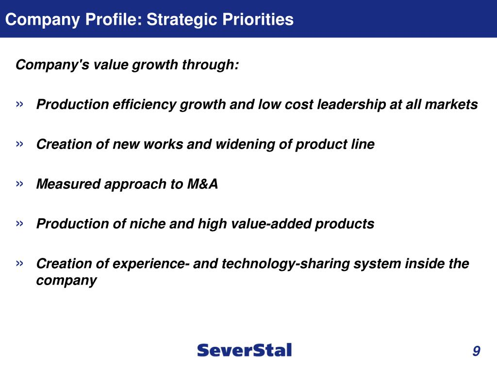 Company Profile: Strategic Priorities