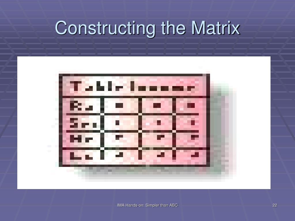 Constructing the Matrix