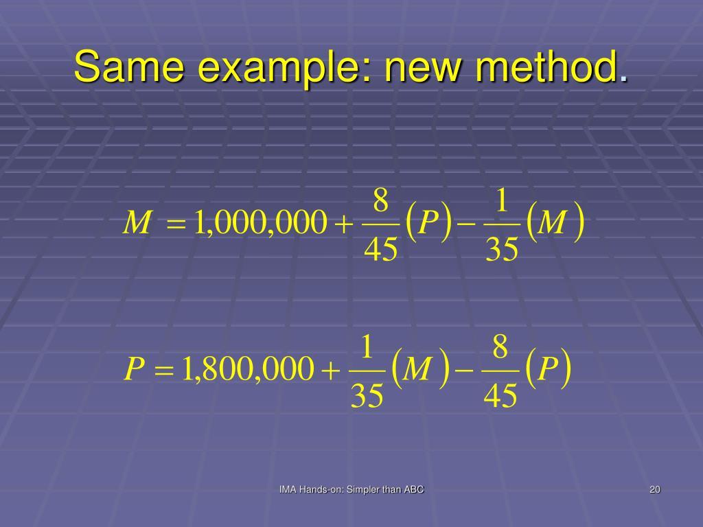 Same example: new method