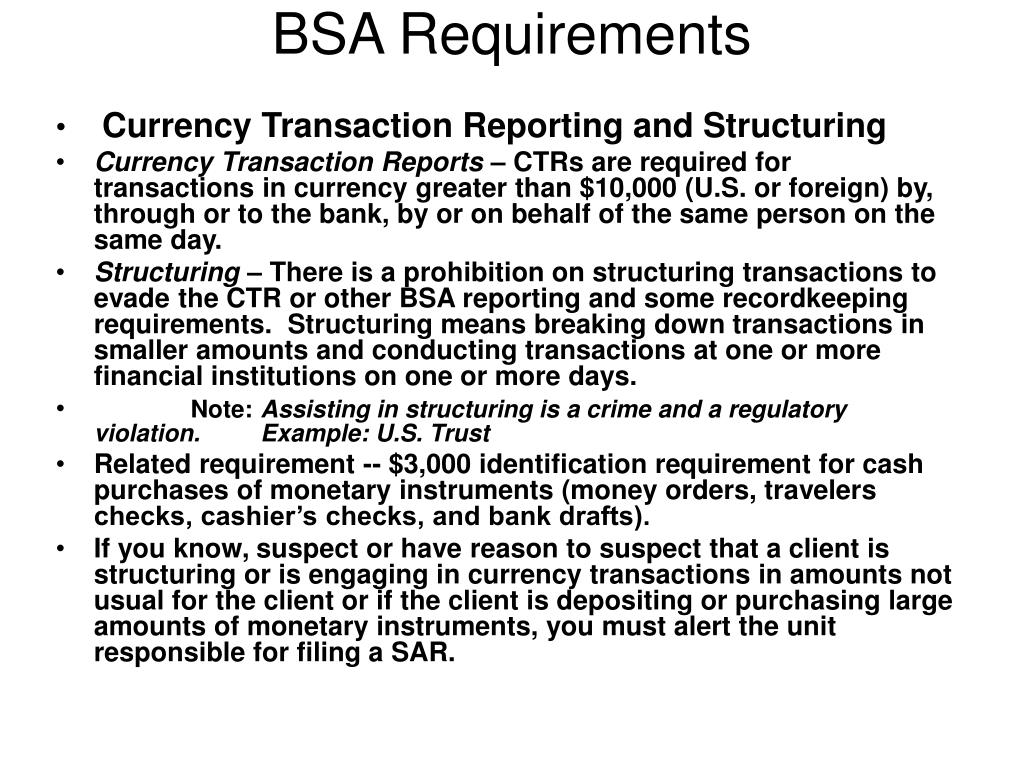 what does bsa mean in banking