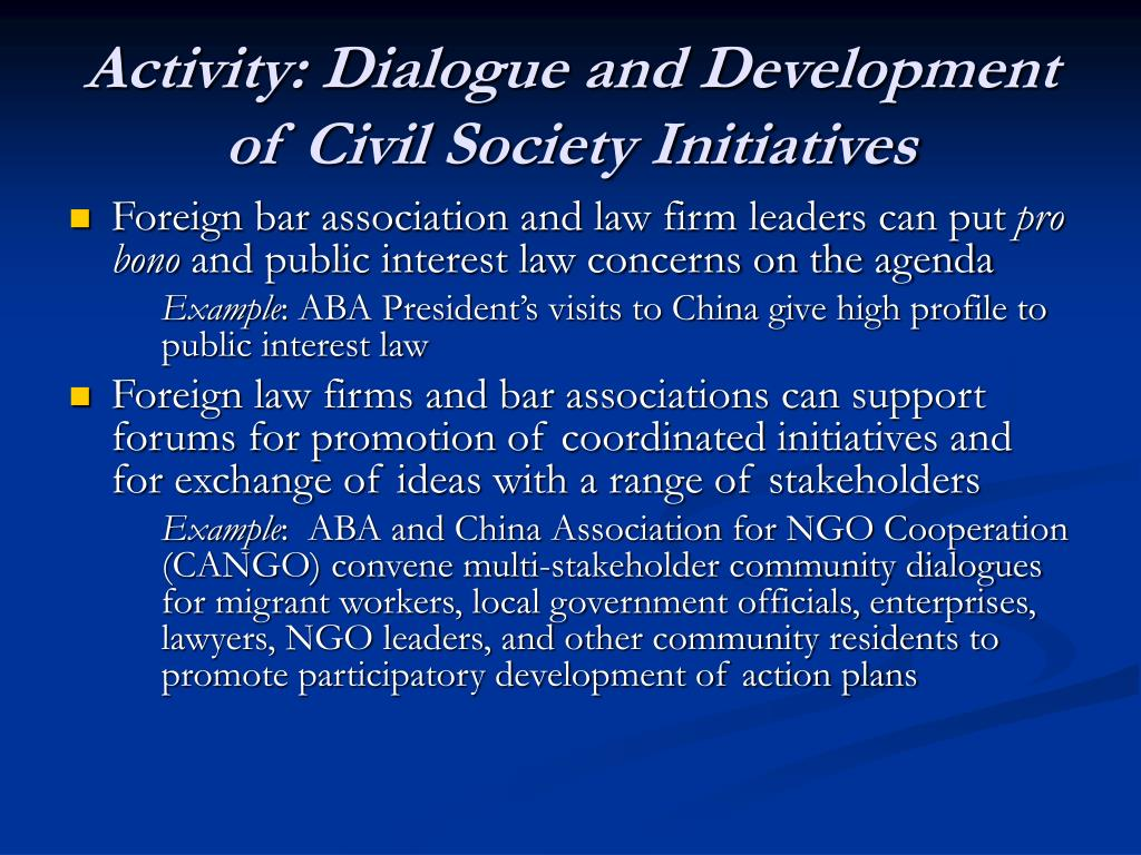 Activity: Dialogue and Development of Civil Society Initiatives