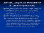 activity dialogue and development of civil society initiatives