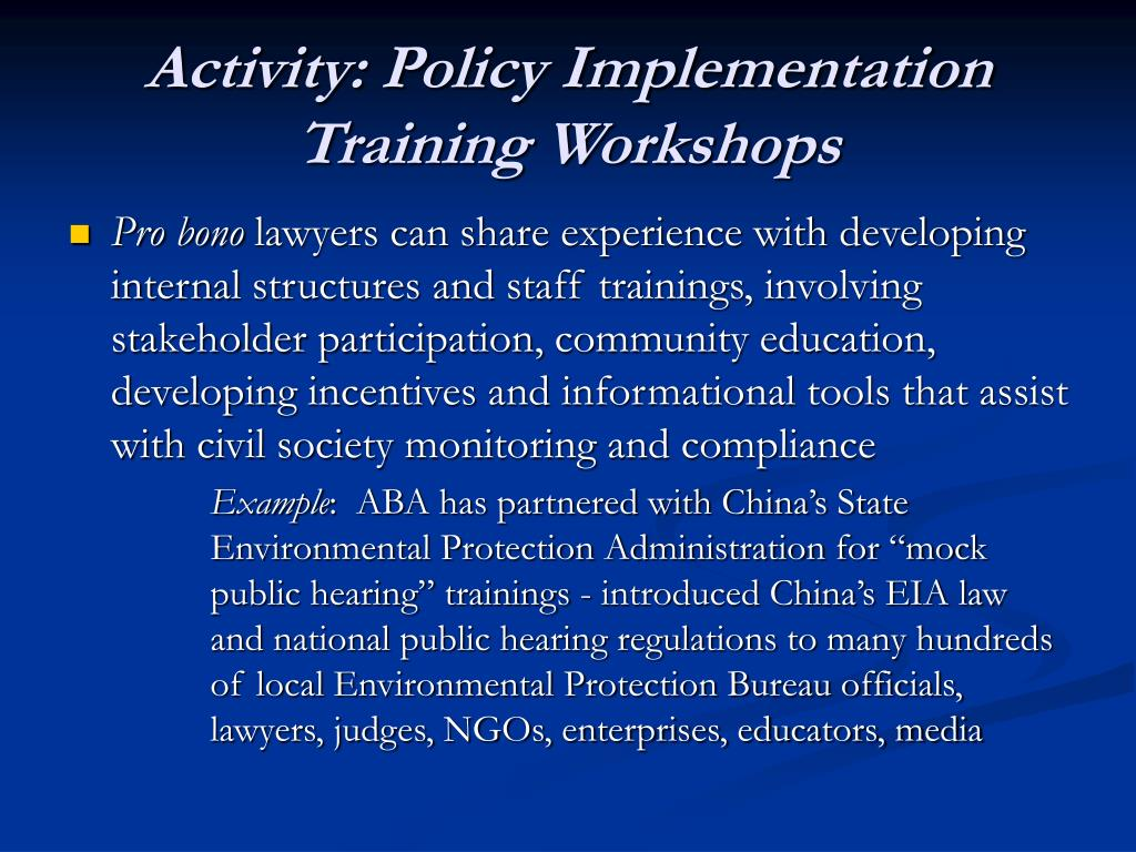 Activity: Policy Implementation