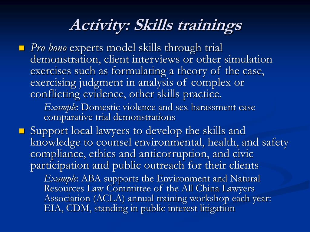Activity: Skills trainings
