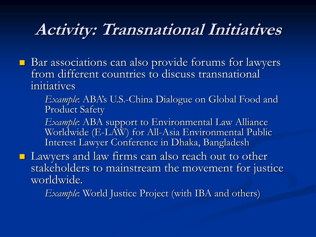 Activity: Transnational Initiatives