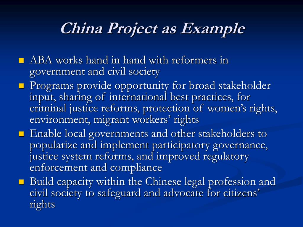 China Project as Example
