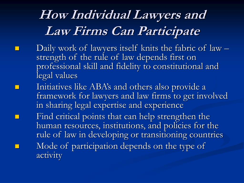 How Individual Lawyers and