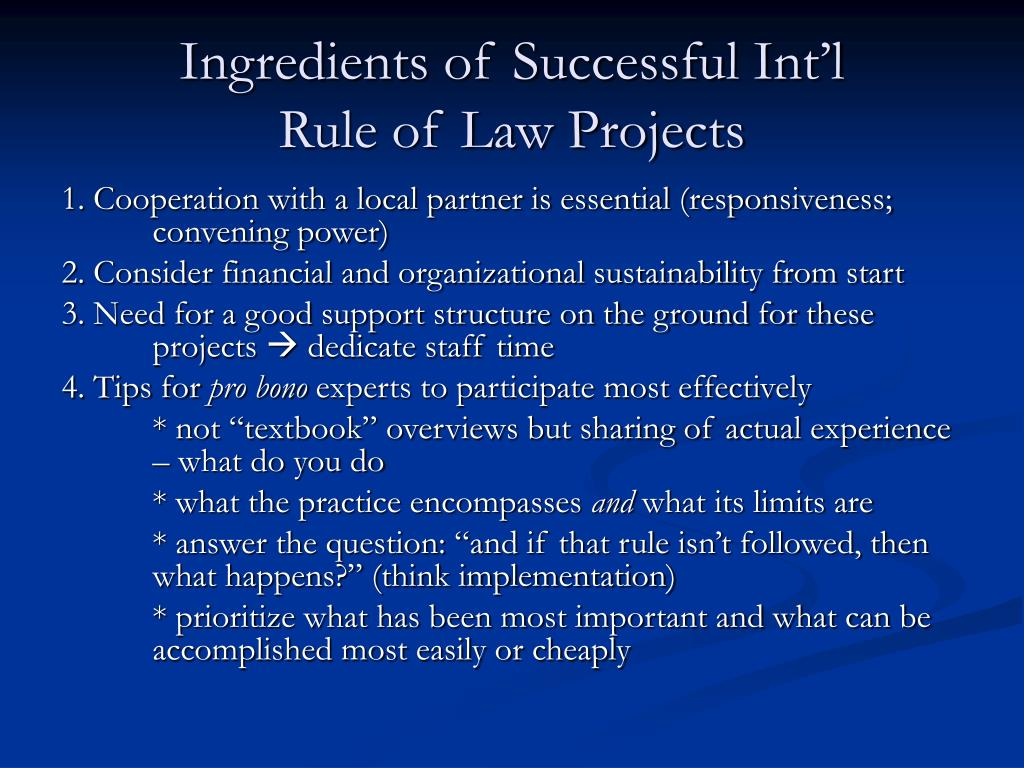 Ingredients of Successful Int'l