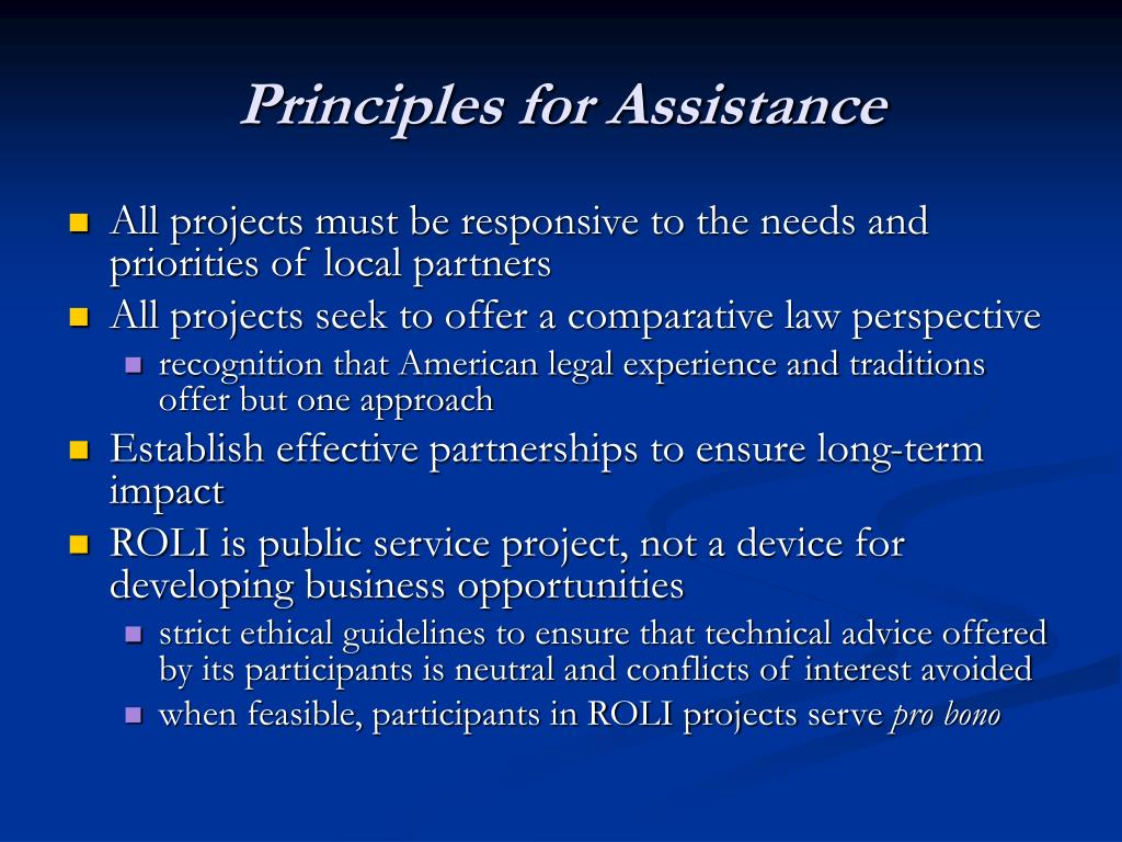 Principles for Assistance