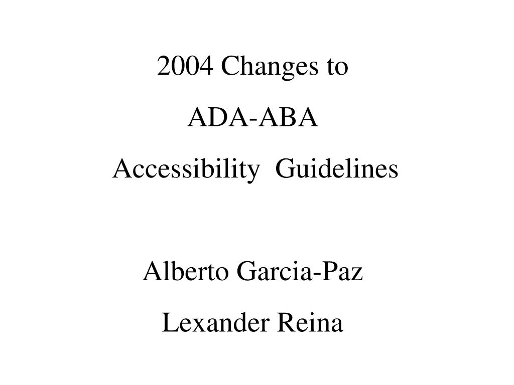 2004 Changes to