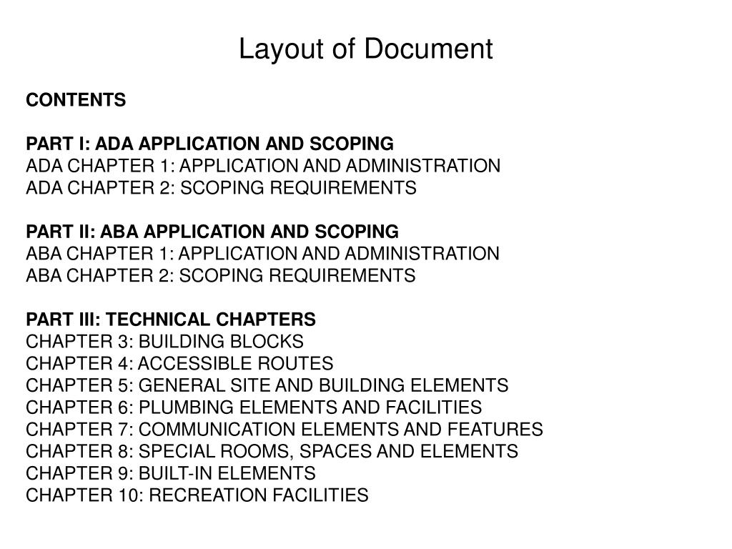 Layout of Document