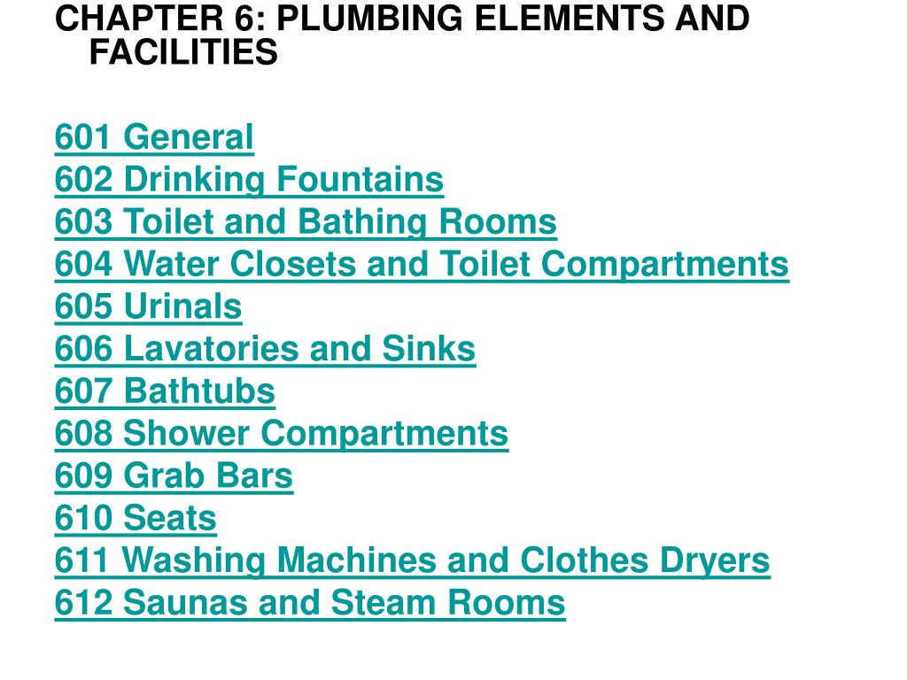 CHAPTER 6: PLUMBING ELEMENTS AND FACILITIES