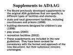 supplements to adaag