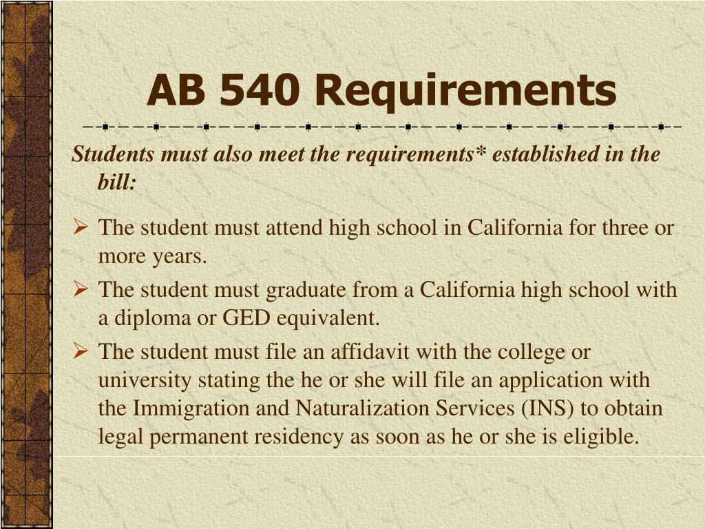 AB 540 Requirements