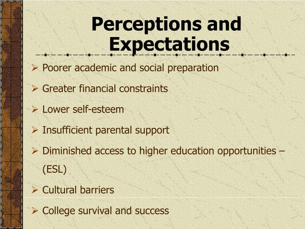 Perceptions and