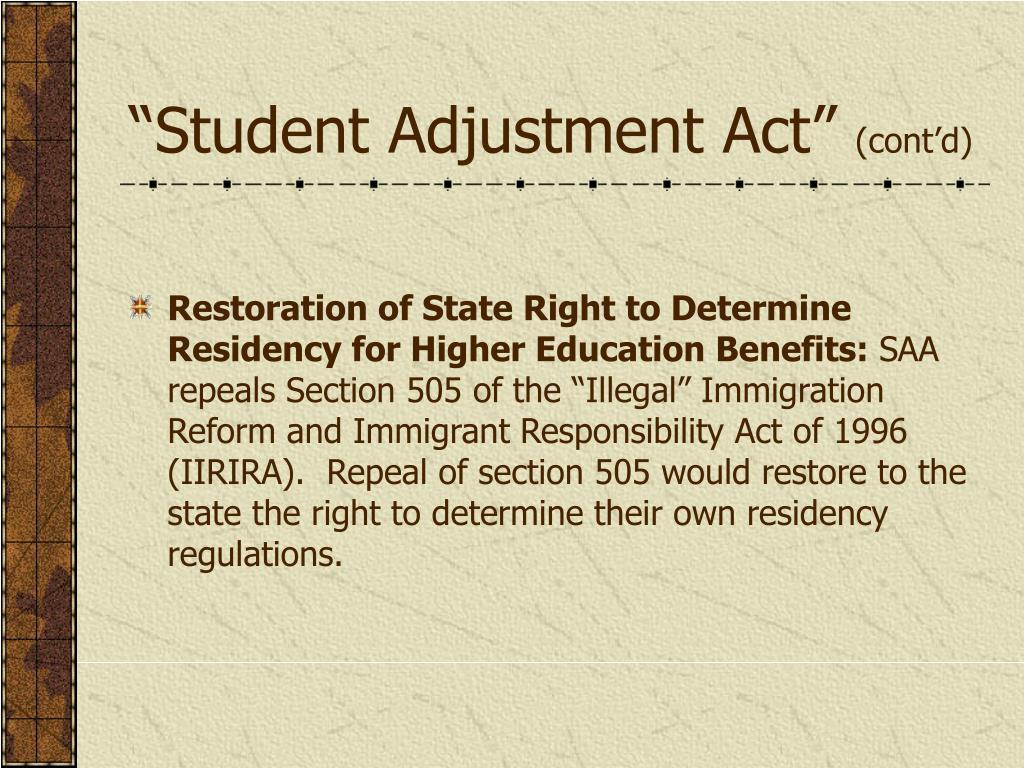 """Student Adjustment Act"""