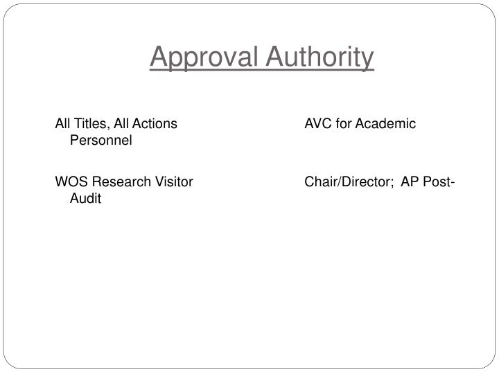 Approval Authority