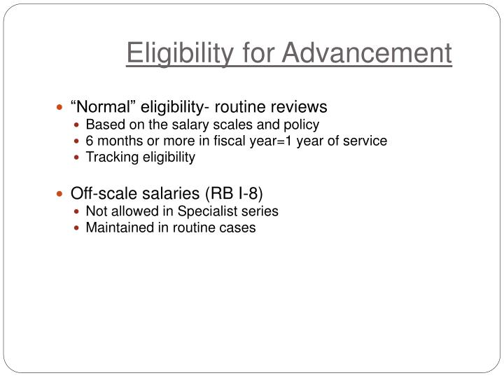 Eligibility for Advancement
