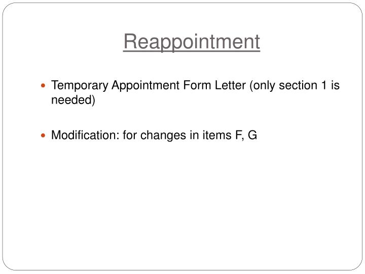 Reappointment