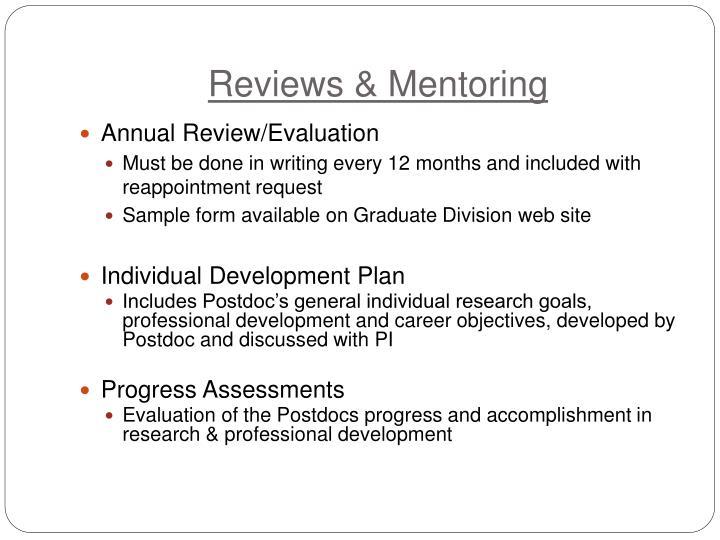 Reviews & Mentoring
