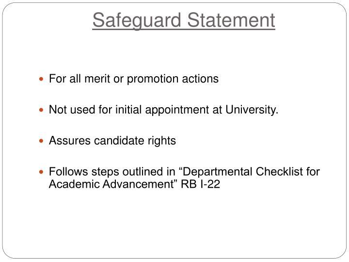 Safeguard Statement