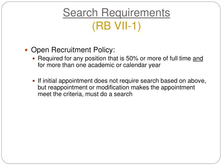 Search Requirements