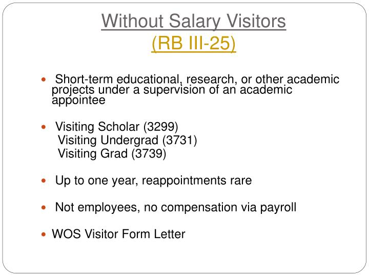 Without Salary Visitors
