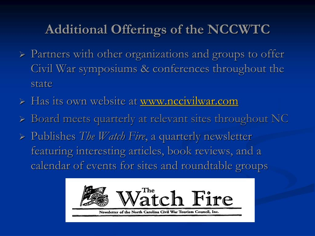 Additional Offerings of the NCCWTC