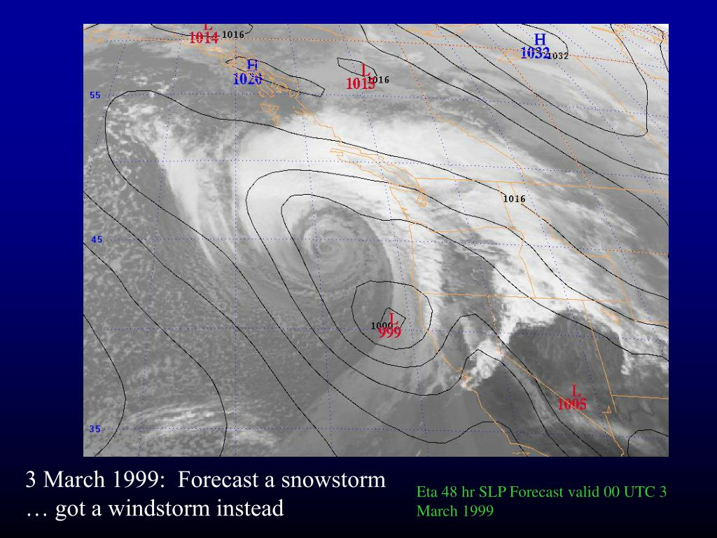 Eta 48 hr SLP Forecast valid 00 UTC 3 March 1999
