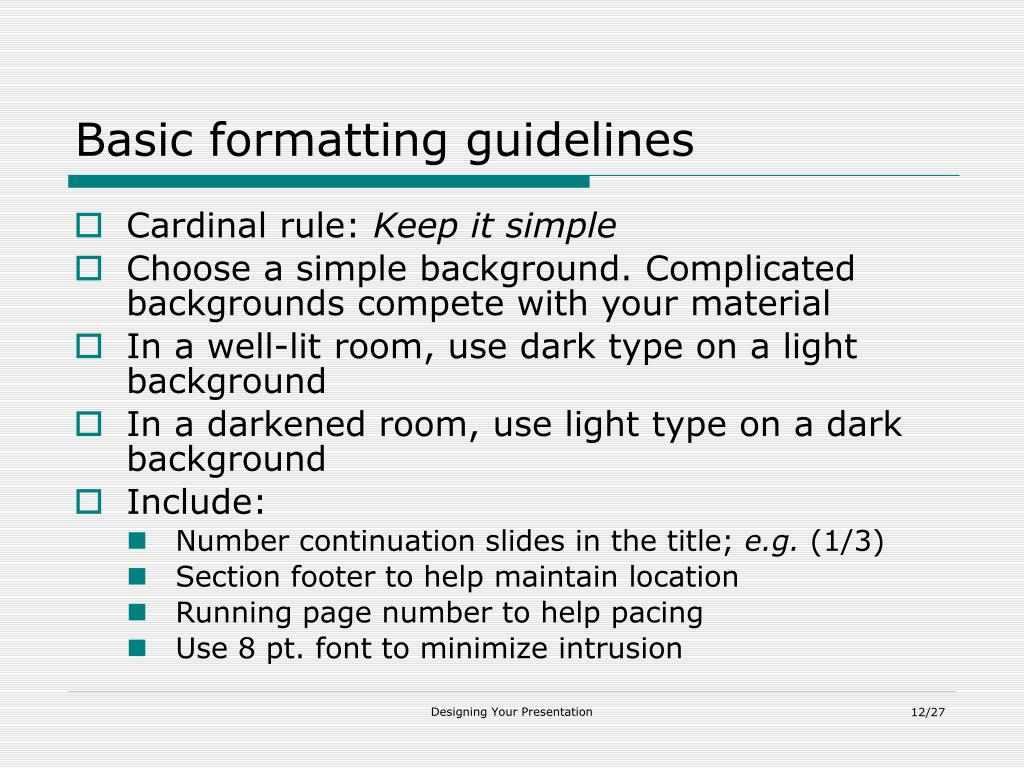 Basic formatting guidelines