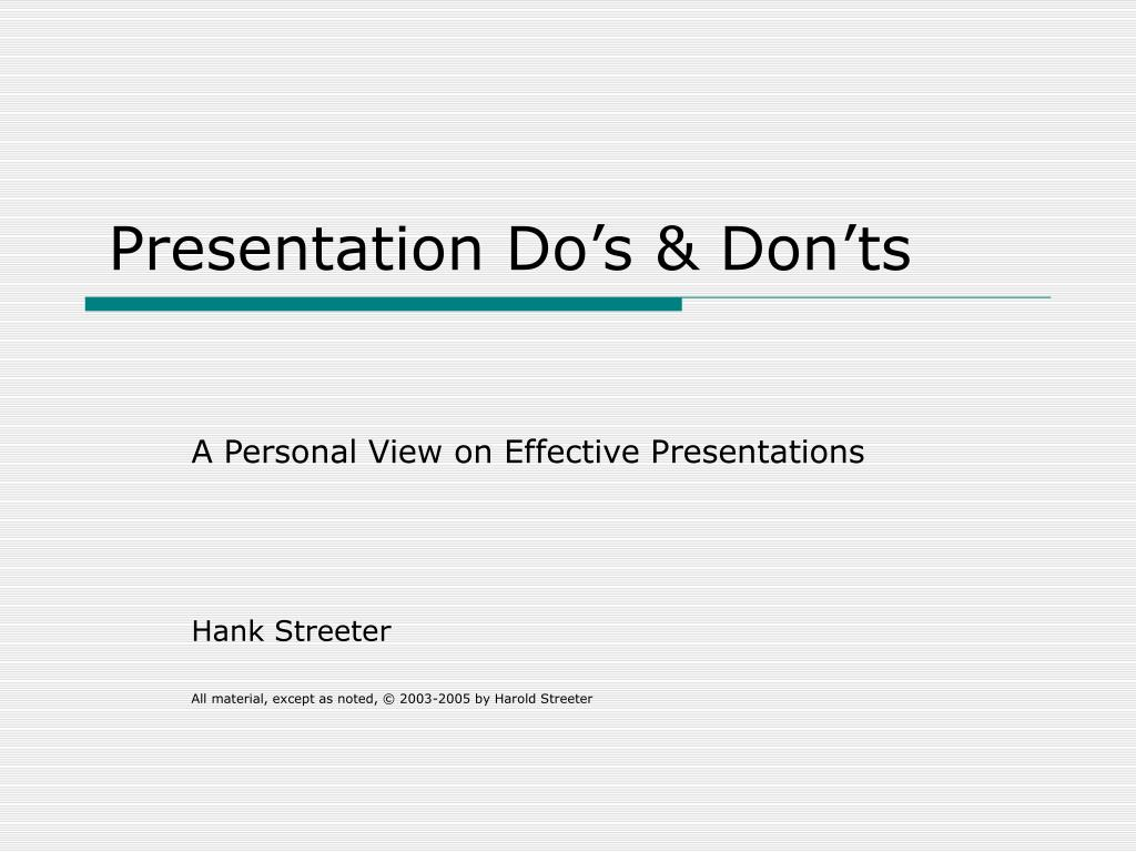 Presentation Do's & Don'ts