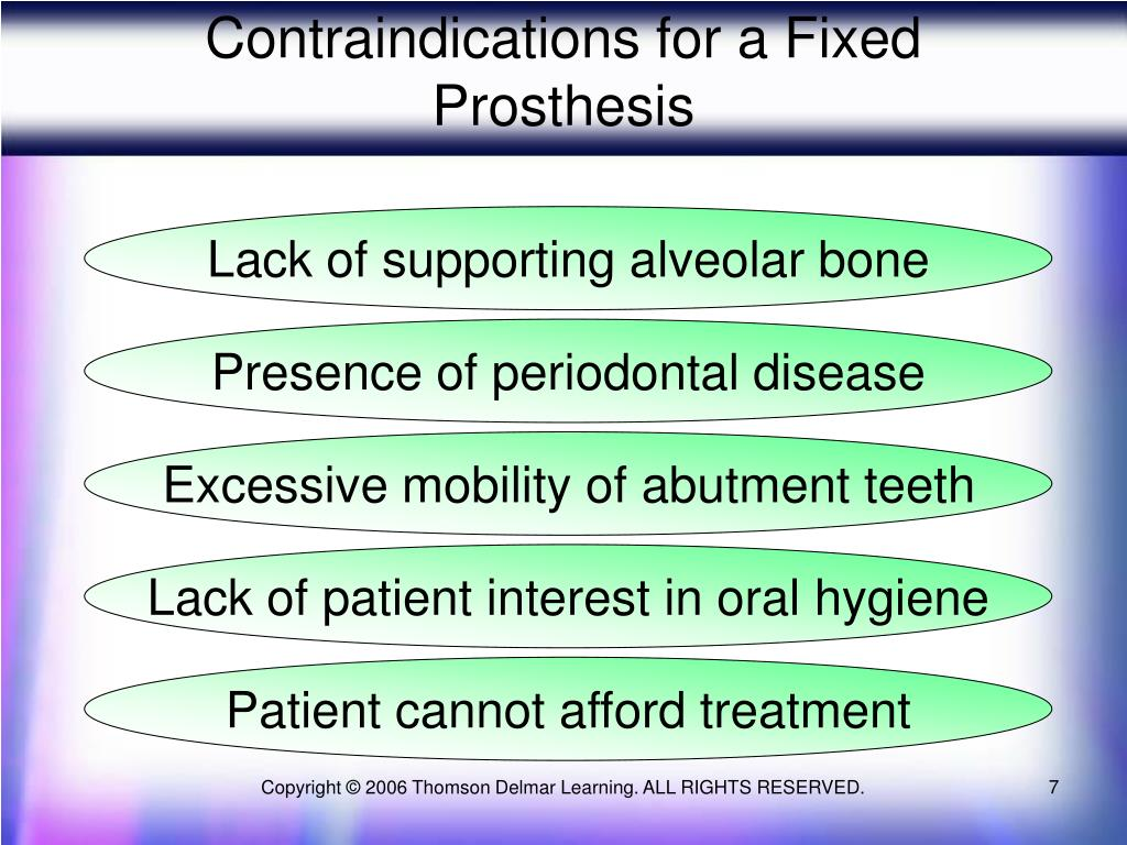 Contraindications for a Fixed Prosthesis