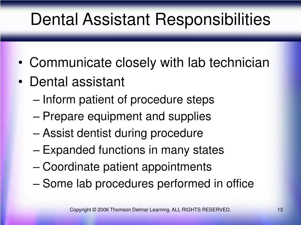 Dental Assistant Responsibilities