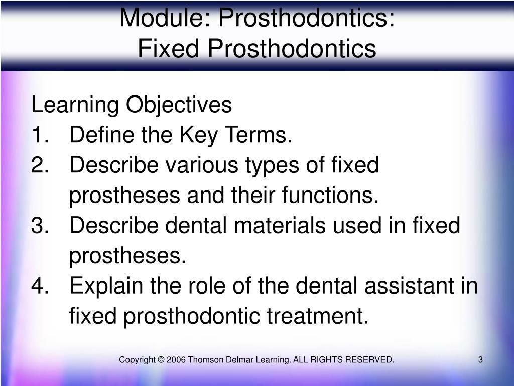 Module: Prosthodontics: