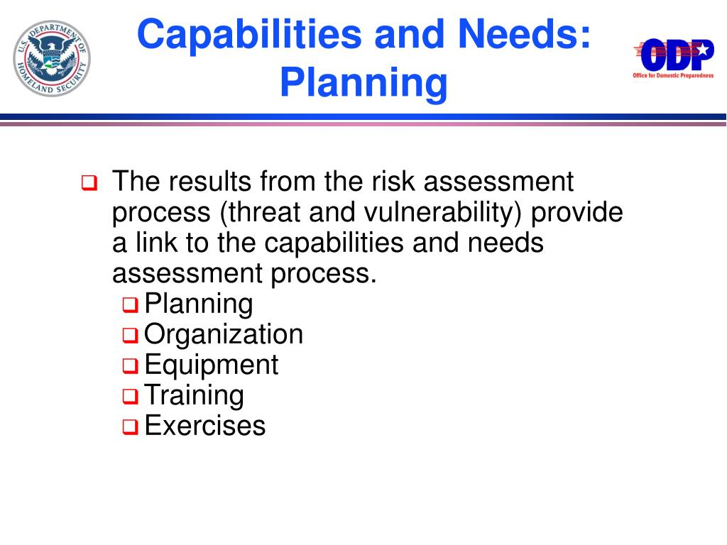 Capabilities and Needs: