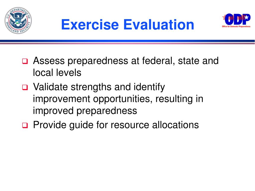 Assess preparedness at federal, state and local levels