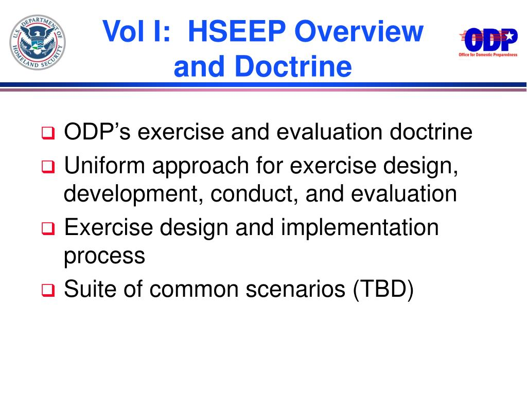 Vol I:  HSEEP Overview