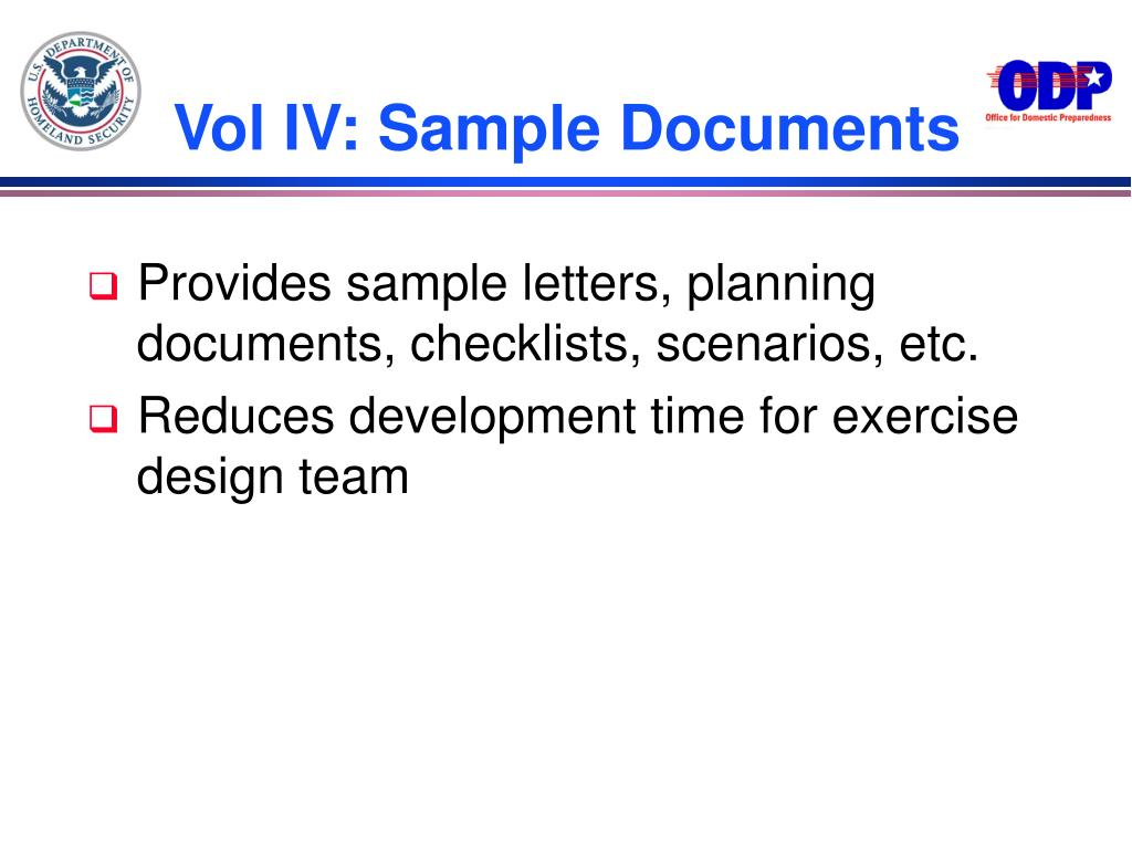 Vol IV: Sample Documents