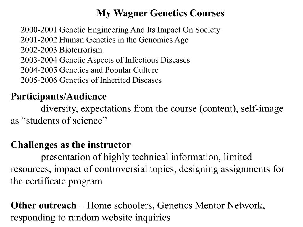 My Wagner Genetics Courses