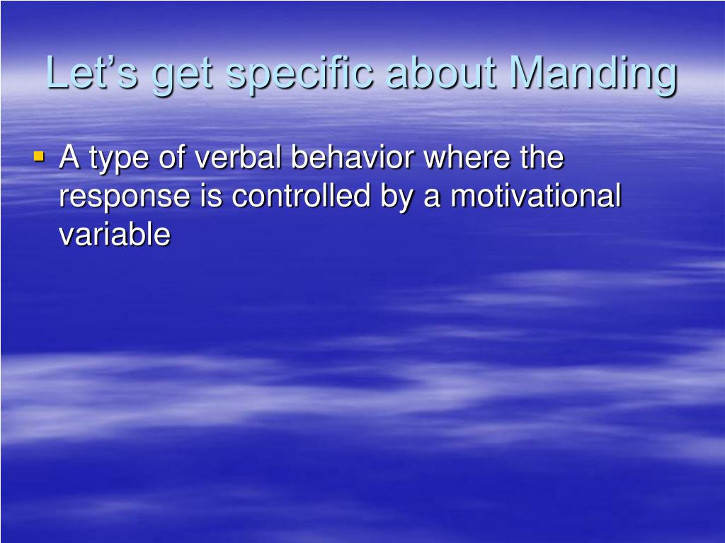 Let's get specific about Manding